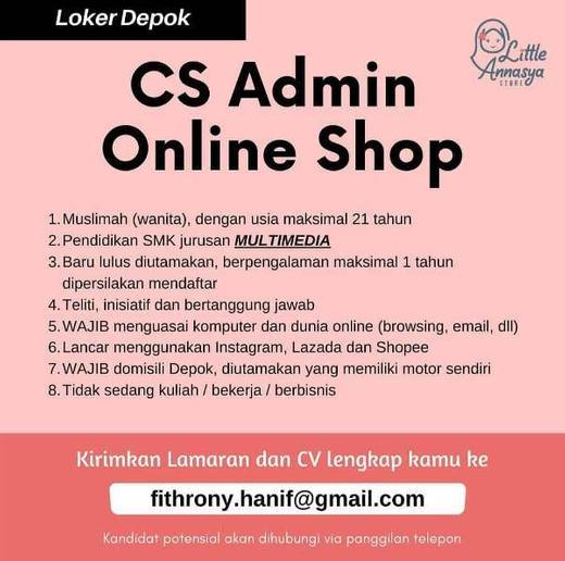 Lowongan Cs Admin Online Shop Depok Indah Pratiwi Di Depok Kota 10 Sep 2020 Loker Atmago Warga Bantu Warga