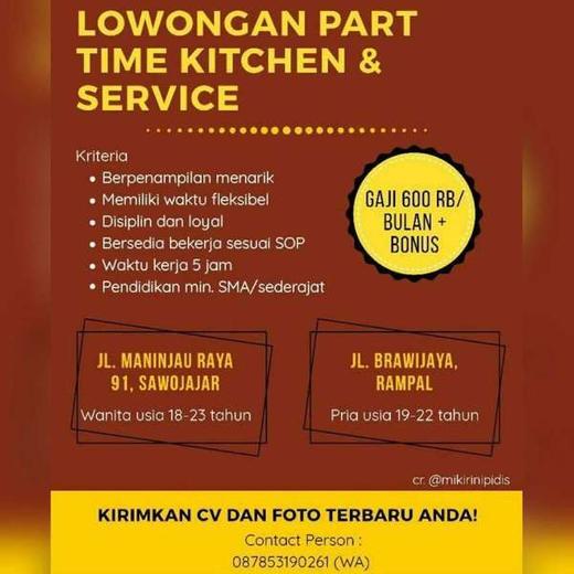 Lowongan Kerja Part Time Restoran Surabaya