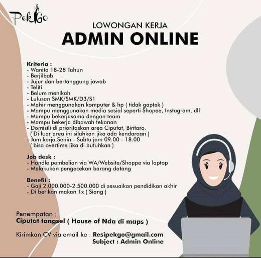 Lowongan Kerja Admin Online Ciputat Tangsel Indah Pratiwi Di Tangerang Selatan Kota 21 Sep 2020 Loker Atmago Warga Bantu Warga