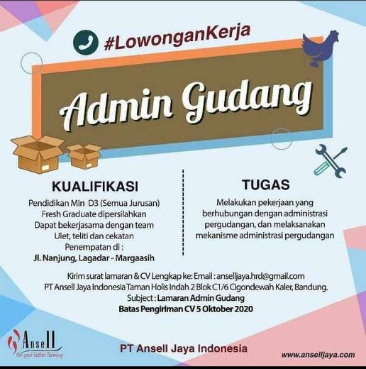 Lowongan Admin Gudang Bandung - Indah Pratiwi di Margaasih ...