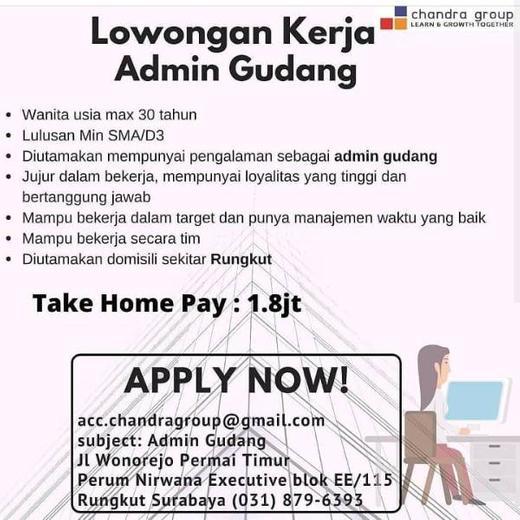 Lowongan Kerja Admin Gudang Surabaya Atmago