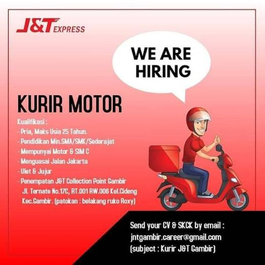 Lowongan Kurir J&T Express - Indah Pratiwi di Gambir ...
