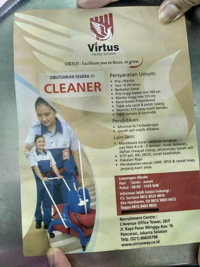 Lowongan Kerja Cleaner Cleaning Services Di Virtus Facility Services Н™ˆð™Šð™ƒð˜¼ð™ˆð™ˆð˜¼ð˜¿ Н™…𝘼𝙀𝙉𝙐𝘿𝙄𝙉 Di Pancoran Jakarta Selatan 15 Feb 2017 Loker Atmago Warga Bantu Warga