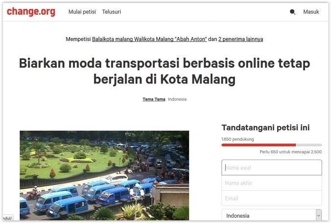 10768 medium kisruh transportasi online di malang tak kunjung usai