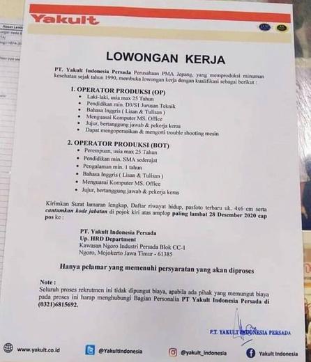 Lowongan Operator Pabrik Yakult Atmago