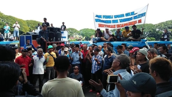 11017 medium sopir angkot demo lagi tuntut ketegasan wali kota malang