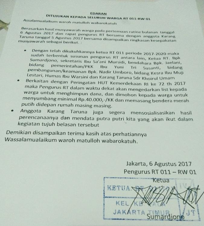 Surat Edaran Untuk Seluruh Warga Rt 011 Rw 01 Kebon Pala