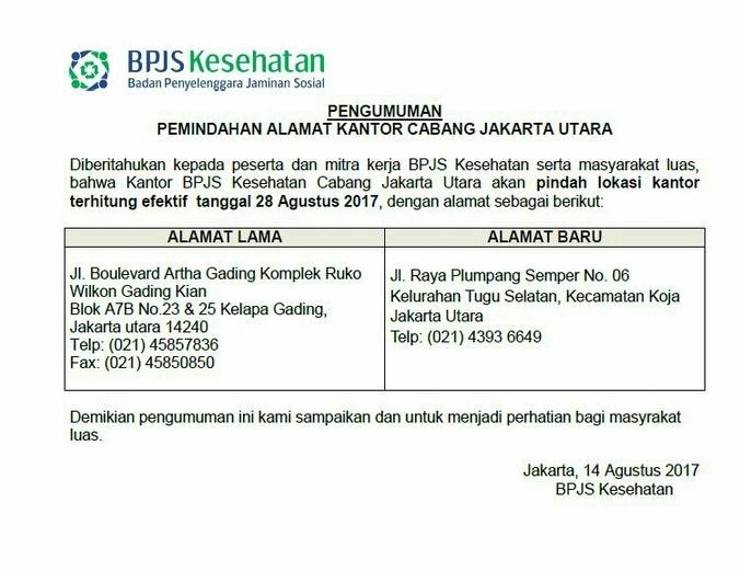 Kantor Bpjs Jakarta Utara Pindah Alamat Atmago