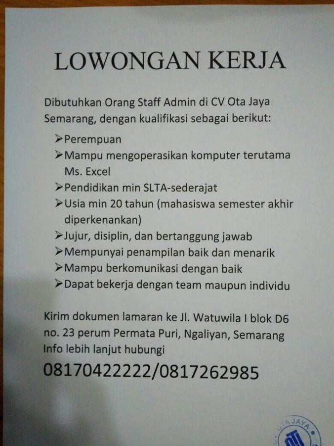Lowongan Kerja Untuk Mahasiswa Di Semarang