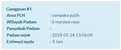 20864 medium pemadaman listrik di jalan mardani raya