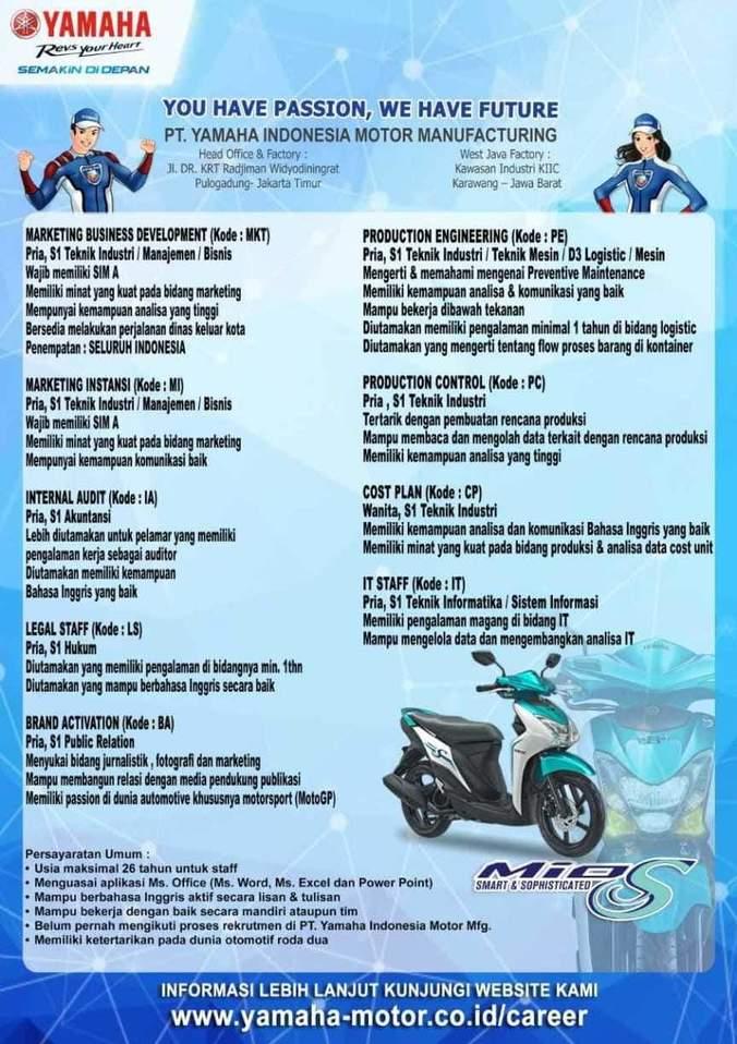 Lowongan Kerja Yamaha Indonesia Motor Manufacturing Atmago