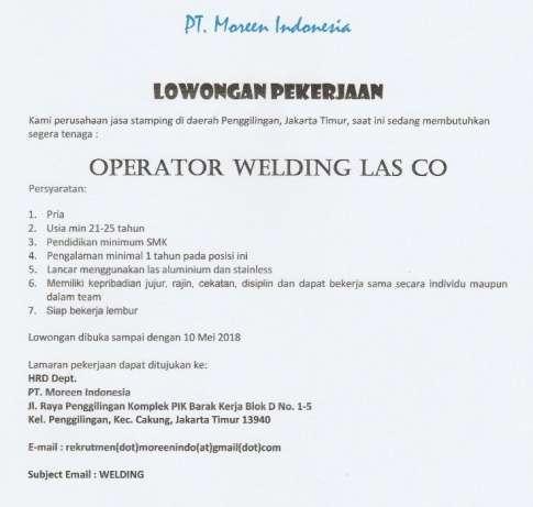 24979 medium dibutuhkan segera operator welding las co