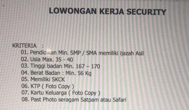 26466 medium di butuhkan tenaga kerja security