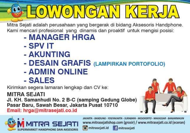 Lowongan Kerja Design Akunting Spv I T Sales Manager H R D Admin Online Gibran Waluyo Di Jakarta Pusat 13 Jun 2018 Loker Atmago Warga Bantu Warga