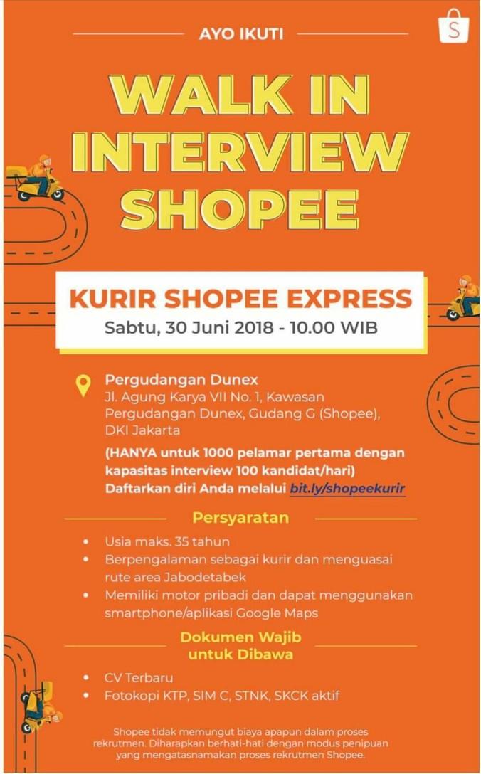 Lowongan Kerja Kurir Shopee Express 𝙈𝙊𝙃𝘼𝙈𝙈𝘼𝘿