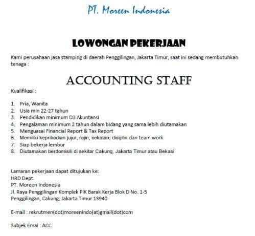 27609 medium dicari staff accounting jakarta timur