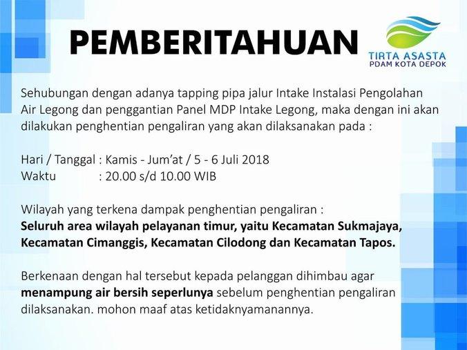 27665 medium air pam di 4 kecamatan depok dimatikan mulai pukul 20.00 wib