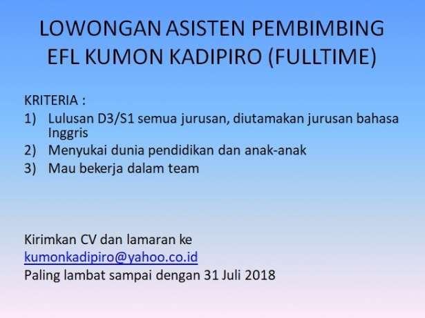 Lowongan Asisten Pembimbing Efl Kumon Kadipiro Fulltime Gibran Waluyo Di Yogyakarta 11 Jul 2018 Loker Atmago Warga Bantu Warga