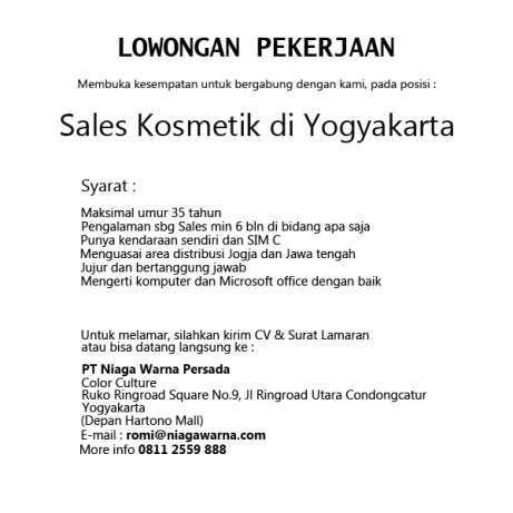 28383 medium lowongan kerja sales kosmetik di yogyakarta