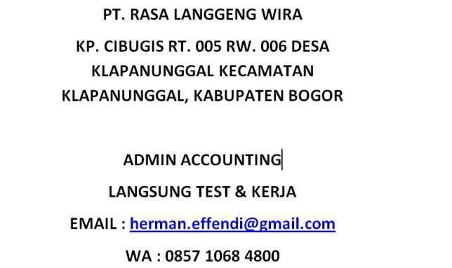 28834 medium lowongan admin accounting langusung test dan wawancara