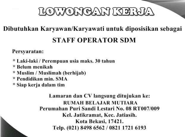 28962 medium lowongan kerja daerah bekasi staff operator sdm