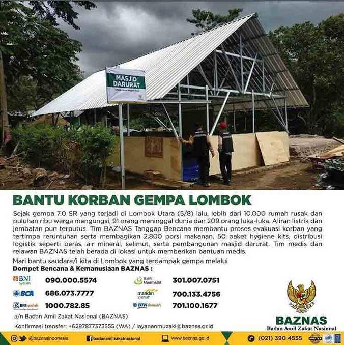 29720 medium salurkan sumbangan bantuan gempa lombok lewat baznas