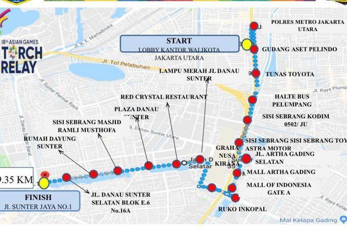 30243 medium pawai obor asian games tanggal 16 agustus 2018  berikut ruas jalan  di jakarta utara yang ditutup