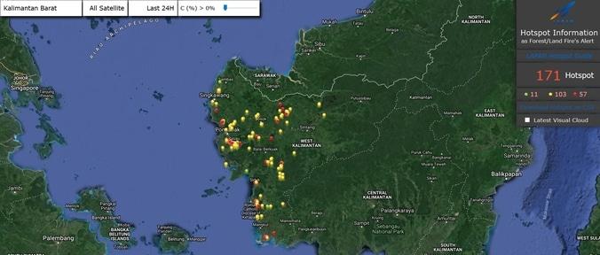 31331 medium setelah menghilang dua hari yang lalu  hari ini 171 titik api muncul kembali