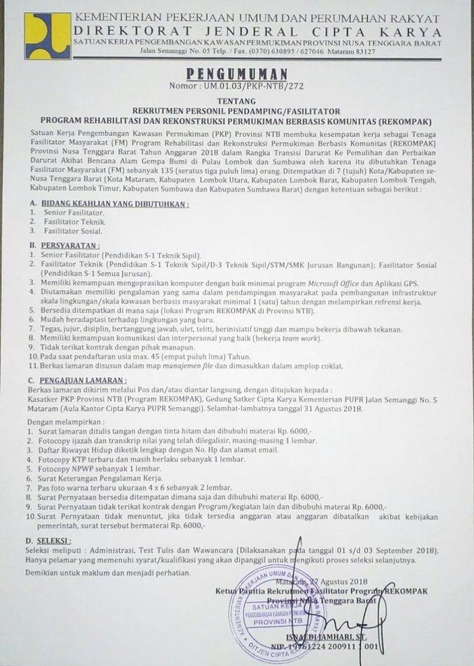 31560 medium dicari 135 orang tenaga fasilitator untuk rekompak pupr lombok