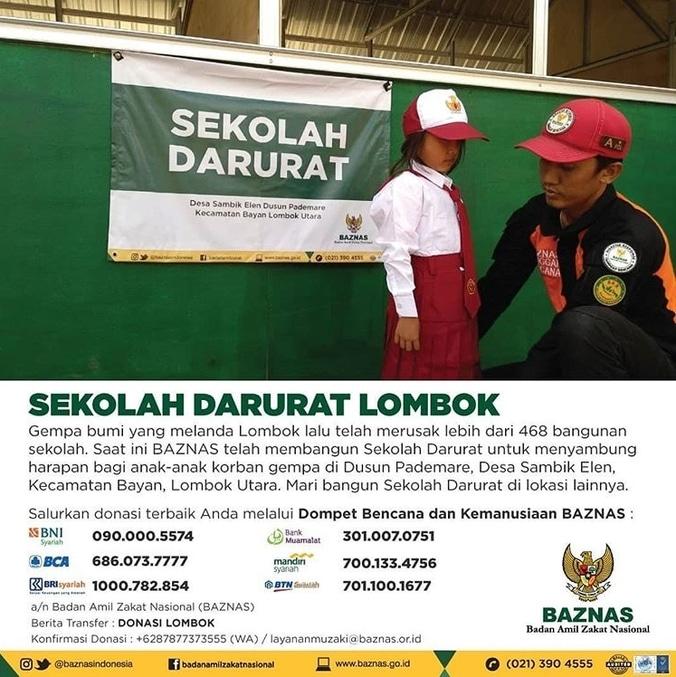 33125 medium baznas dirikan 3 sekolah darurat di lombok