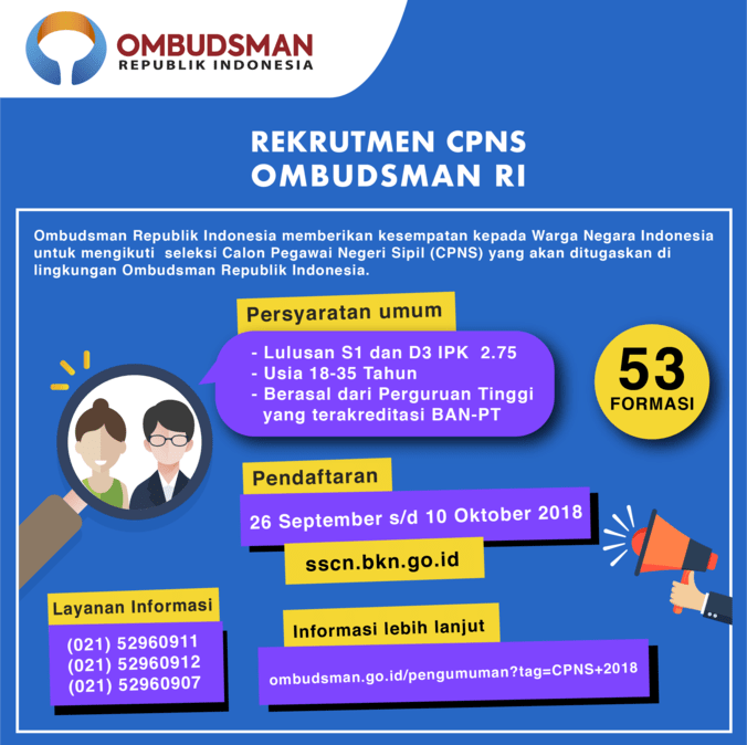 33740 medium seleksi cpns 2018  ombudsman ri buka lowongan 53 formasi