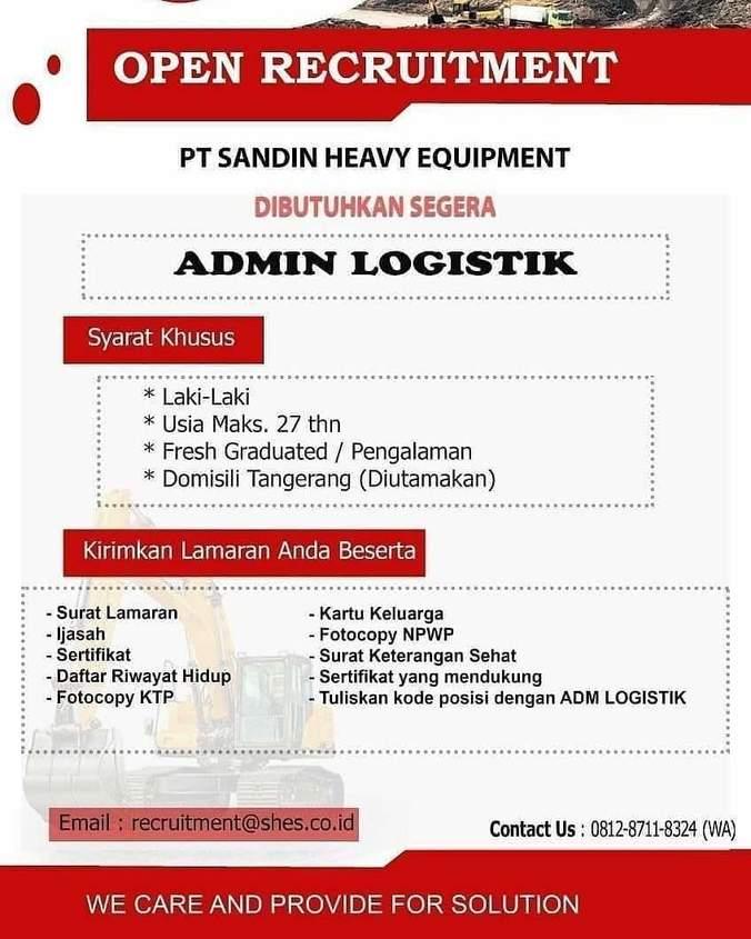 Lowongan Kerja Admin Logistik Sandin Heavy Equipment Atmago