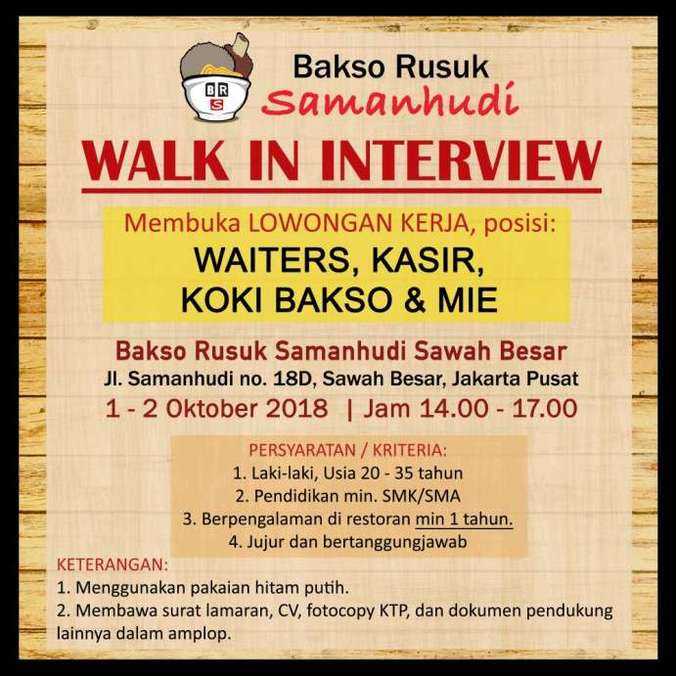 Loker Di Restoran Jakarta 2019
