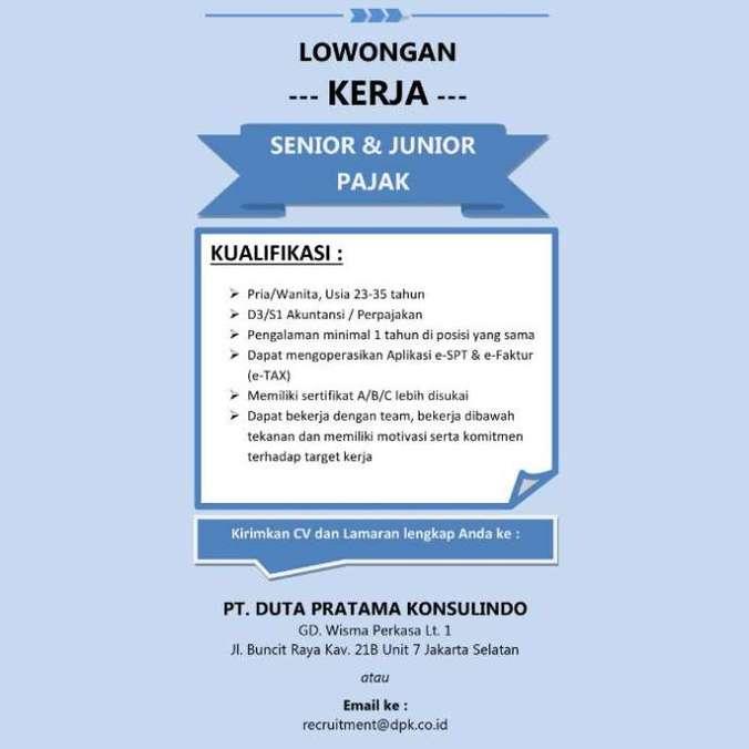34609 medium lowongan kerja senior   junior pajak