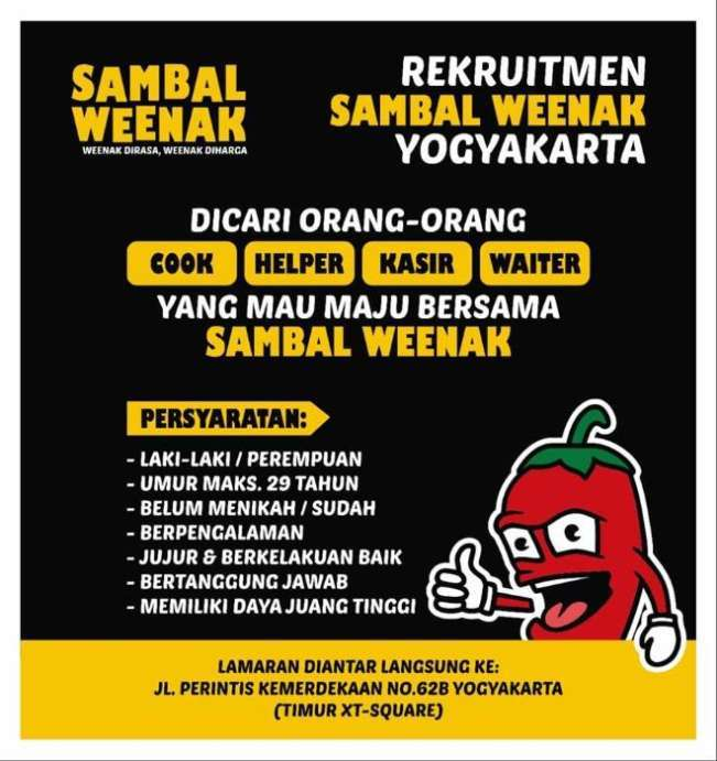 Lowongan Kerja Restoran Di Sambal Weenak Jogja Indah Pratiwi Di Yogyakarta 1 Nov 2018 Loker Atmago