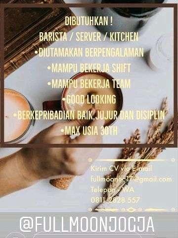 38074 medium lowongan kerja barista  server dan kitchen di kafe fullmoon