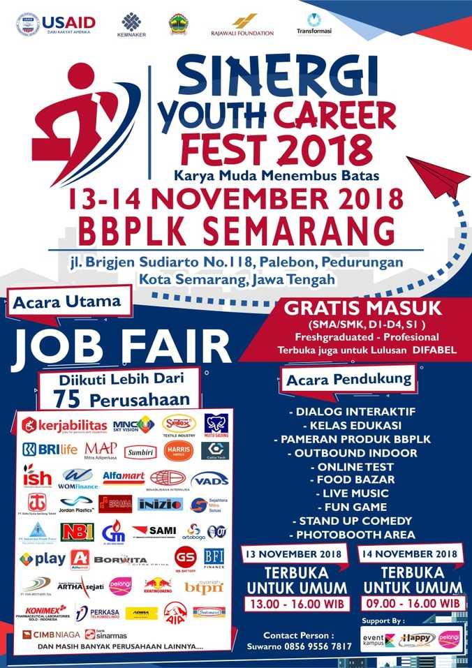Bursa Kerja) SINERGI YOUTH CAREER FEST 2018 – November 2018