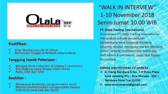 Lowongan Kerja Open Job Walk In Interview Pt Olala Trading International Hendrikus M Di Jakarta Barat 9 Nov 2018 Loker Atmago Warga Bantu Warga