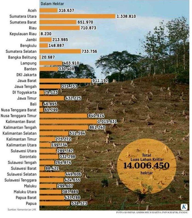 38530 medium lahan kritis indonesia capai 14 juta ha  sumut dan kalbar juaranya