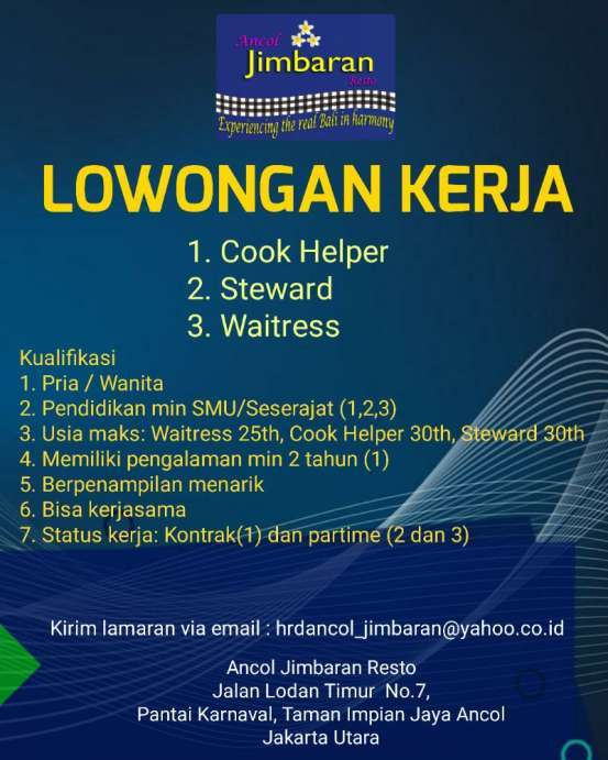 Lowongan Kerja Restoran 2019 Jakarta