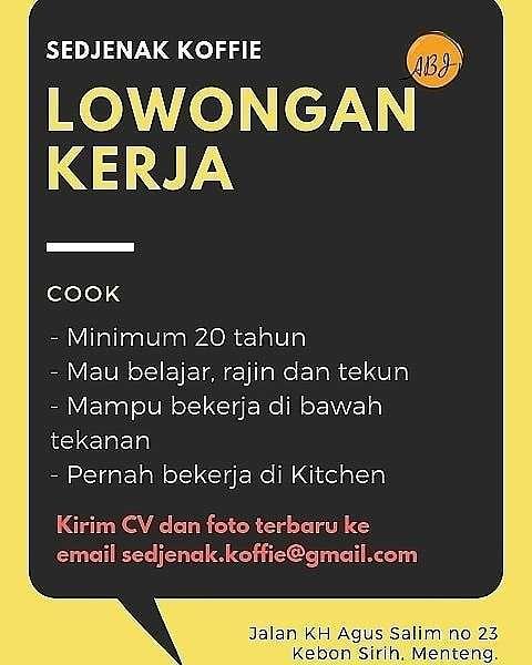 40812 medium lowongan kerja sebagai cook  cook helper sedjenak koffie sabang
