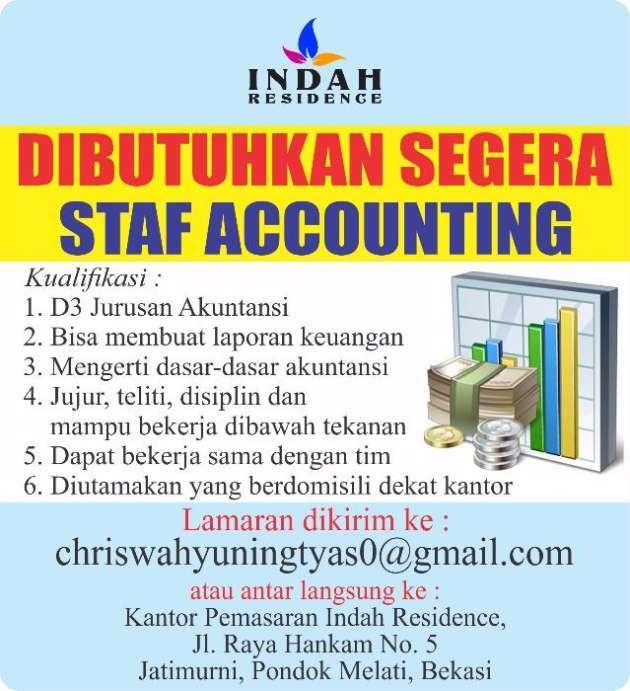 Lowongan Kerja Staff Accounting Di Kantor Pemasaran Indah Residence Hendrikus M Di Bekasi Kota 28 Nov 2018 Loker Atmago Warga Bantu Warga