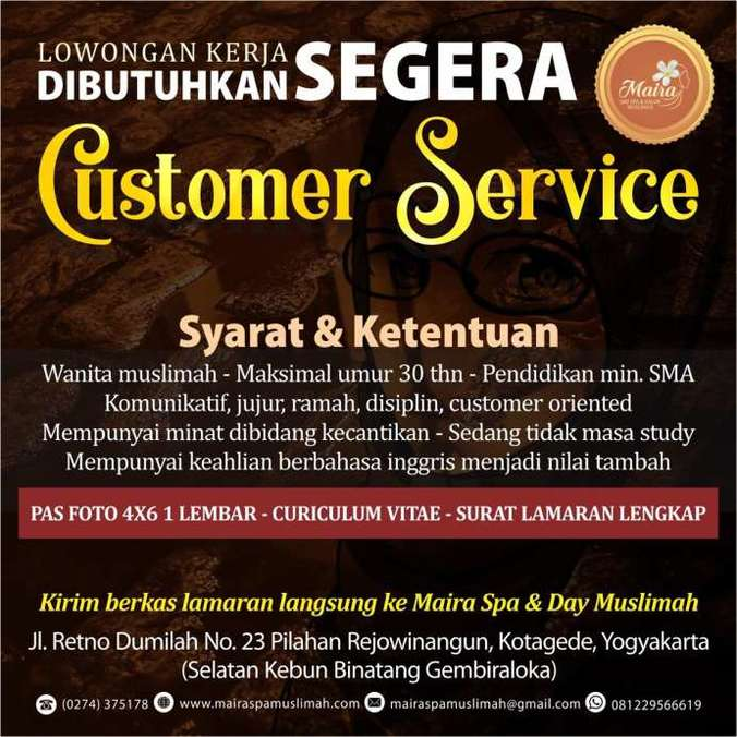 42002 medium lowker customer service maira day spa   salon muslimah jogja