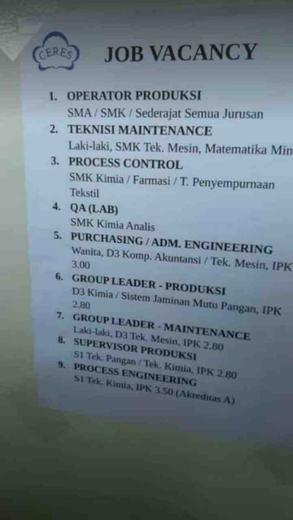 Pt Perushaan Industri Ceres Fajar Ramdani Di Rancaekek Bandung Kabupaten 16 Dec 2018 Loker Atmago Warga Bantu Warga