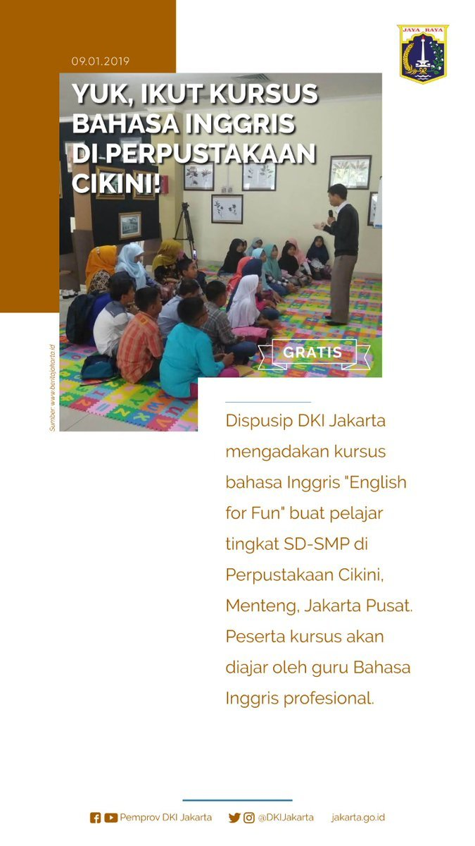 46399 medium kursus bahasa inggris gratis english for fun di perpustakaan cikini