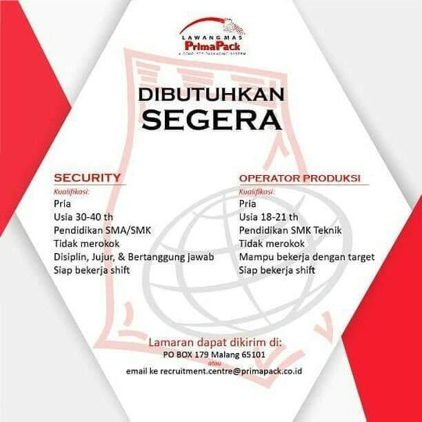 Lowongan Kerja Operator Produksi Dan Security 𝙈𝙊𝙃𝘼𝙈𝙈𝘼𝘿 𝙅𝘼𝙀𝙉𝙐𝘿𝙄𝙉 Di Malang Kota 20 Jan 2019 Loker Atmago Warga Bantu Warga