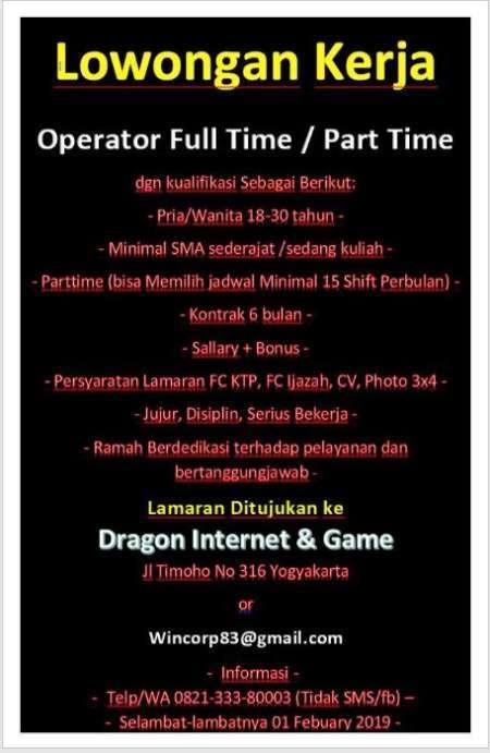 Lowongan Operator Warnet Game Di Dragon Internet Game Yogyakarta Widya Sari Di Yogyakarta 24 Jan 2019 Loker Atmago Warga Bantu Warga