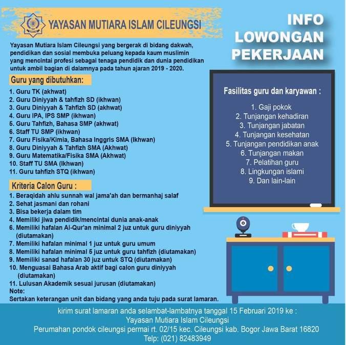 Lowongan Kerja Guru Yayasan Mutiara Islam Cileungsi ...