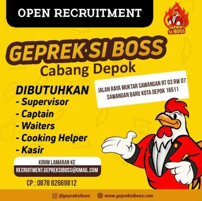 Lowongan Kerja Crew Geprek Si Boss Cabang Depok Atmago