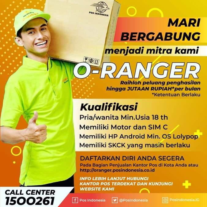 Lowongan Kerja Mitra O Ranger Pos Indonesia Atmago